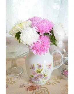Mix bouquet of pink and white asters | Asters flowers