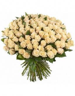 Bouquet of 51 cream roses | Cream roses flowers