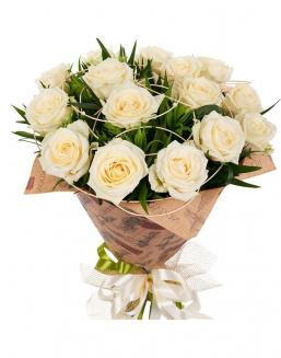 Bouquet of 15 cream roses | 15 flowers flowers