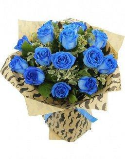 Bouquet of 15 blue roses | Flowers inexpensive flowers