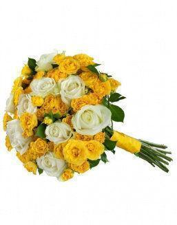 Mix bouquet of 25 white/yellow spray roses | 25 flowers flowers