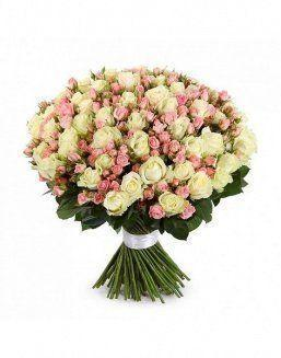 Mix bouquet of 25 white/pink spray roses | 25 flowers flowers