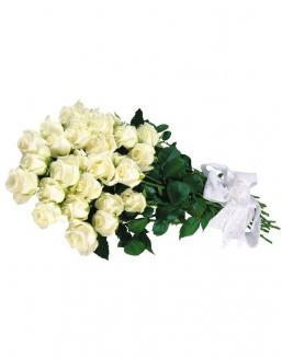 Bouquet of white roses | 25 flowers flowers