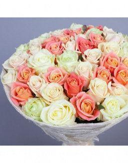 Gift Grace set of cream and carrot roses | Cream roses flowers