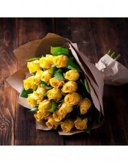 Bouquet of 21 yellow roses | Dutch roses flowers