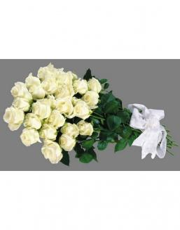 Bouquet of 25 white Dutch roses | 25 flowers