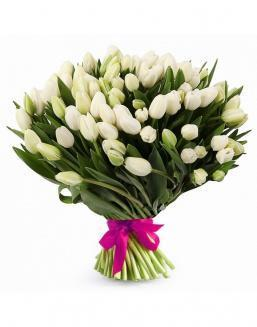 Bouquet of 51 white tulips | White flowers flowers