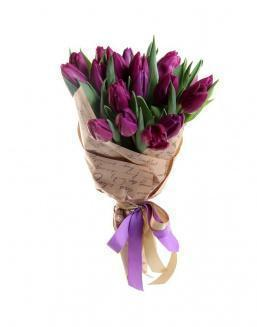 Bouquet of 25 purple tulips | 25 flowers