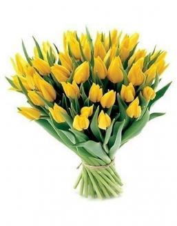 Bouquet of 51 yellow tulips | Yellow flowers