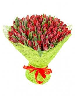 Bouquet 101 red tulips | Flowers to girlfriend flowers