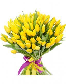 Bouquet 101 yellow tulips | Flowers to women flowers