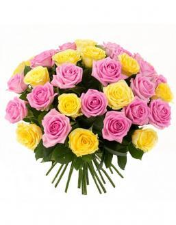 Bouquet mix of 33 pink and yellow roses | Flowers for Wedding flowers